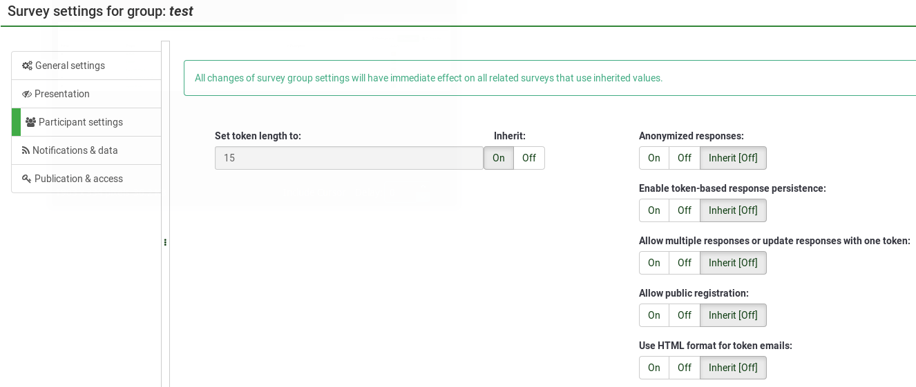 Survey group settings
