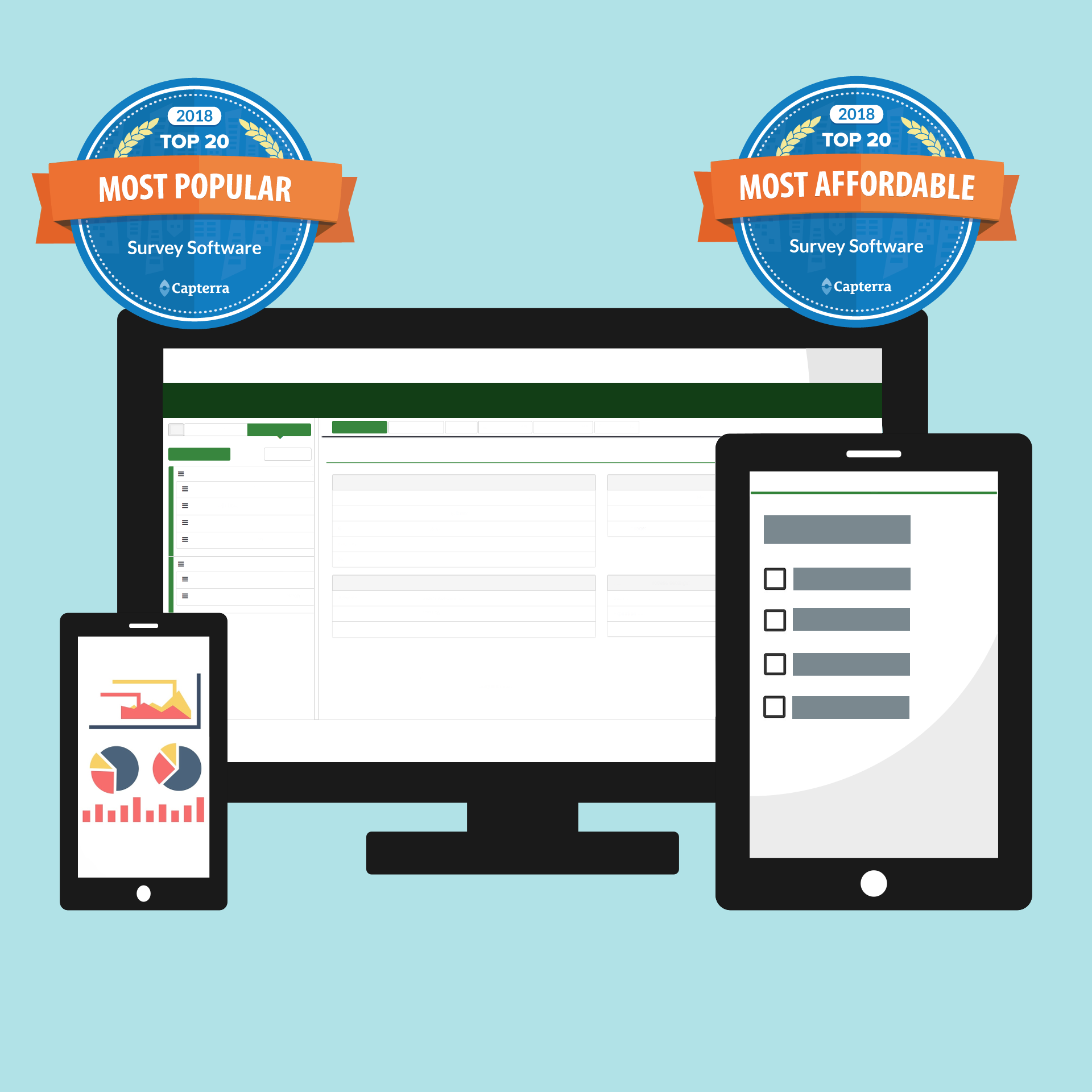 LimeSurvey on all devices with Capterra top 20 software badge
